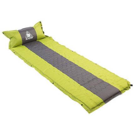 Килимок туристичний надувний Kazmi-003 3 кольору з подушкою каремат переносний похідний, фото 2