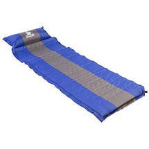Килимок туристичний надувний Kazmi-003 3 кольору з подушкою каремат переносний похідний, фото 3