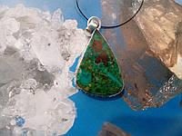 Хризоколла кулон с натуральной хризоколлой в серебре Индия, фото 1