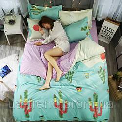 Комплект постельного белья евро в кактусы