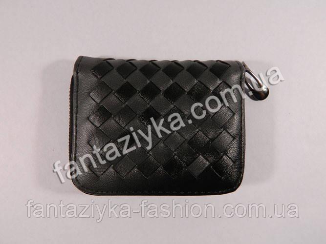 Женский плетеный мини кошелек на молнии черный