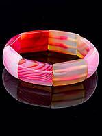 Браслет на резинке из нежно-розового агата 20 см. 025098
