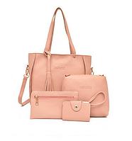 Женские сумки в наборе цвет розовый