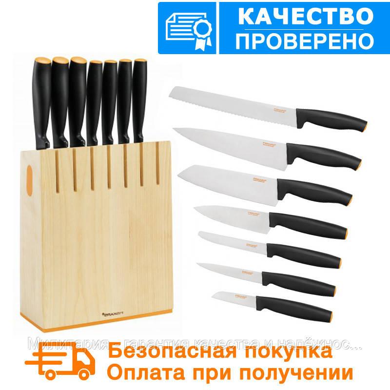 Набор кухонных ножей в деревянном блоке Fiskars FF (1014225)