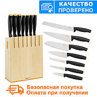 Набор кухонных ножей в деревянном блоке Fiskars FF (1014225), фото 1