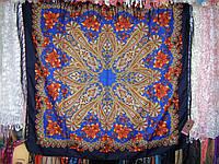шерстяной платок Кленовый лист (синий) модель 2014
