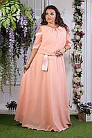 Длинное легкое нарядное платье с вырезами на рукавах креп-шифон Размер 48,50,52,54