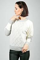 Свитер женский, стильный, зимний 787K011 (Серо-молочный)