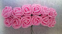 Розы, розочки из латекса (фоамирана) 2-2,5 см Розовые