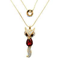 Кулон Колье под Золото Лиса со Вставками Стразами, Красный Кристалл, Длина 72 см + 60 см+ 6 см.