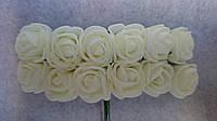 Розы, розочки из латекса (фоамирана) 2-2,5 см Молочный