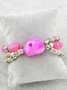 Браслет с натуральным камнем - розовым агатом 17 см. 021303