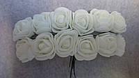 Розы, розочки из латекса (фоамирана) 2-2,5 см Белые