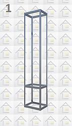 Конструктор (каркас) витрины № 1 из алюминиевого профиля (2578)1449,2576,2721