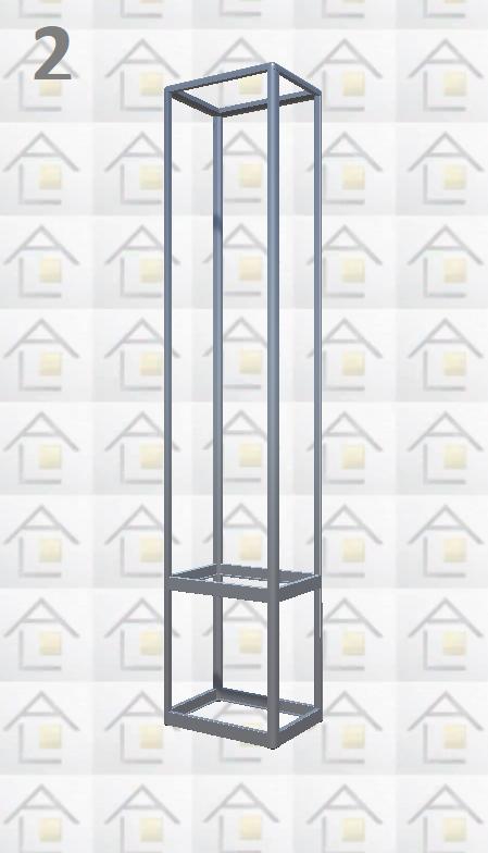 Конструктор (каркас) витрины № 2 из алюминиевого профиля (2578)1449,2576,2721