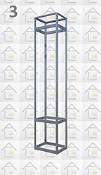Конструктор (каркас) витрины № 3 из алюминиевого профиля (2578)1449,2576,2721