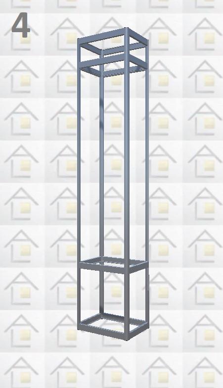 Конструктор (каркас) витрины № 4 из алюминиевого профиля (2578)1449,2576,2721