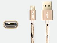 Кабель TOPK Nylon USB MicroUSB 1m - Gold, фото 1