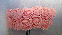 Розы, розочки из латекса (фоамирана) 2-2,5 см Нежно - коралловые
