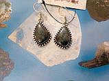 Серьги с камнем хризоколла в серебре. Серьги с хризоколлой., фото 2