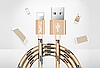 Кабель TOPK Nylon USB Lightning 1m - Gold
