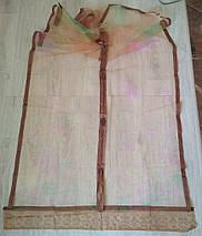 Антимоскитная сетка на магнитах в дверной проем коричневая с цветами 120*210 см, фото 2