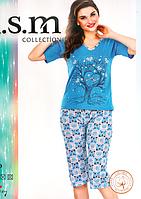 Пижама футболка с бриджами хлопок разные цвета KSM