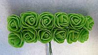 Розы, розочки из латекса (фоамирана) 2-2,5 см Салатовые