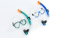 Набор для плавания маска с трубкой Zelart 276-120-PVC: термостекло, PVC, пластик, фото 1