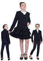 Пиджак школьный для девочки м-1090 рост 116-170 синий, фото 1