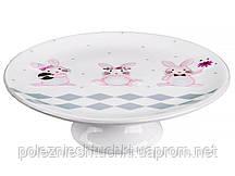 """Подставка для торта фарфоровая 20х10 см. на ножке """"Кролик розовый"""" Lefard"""