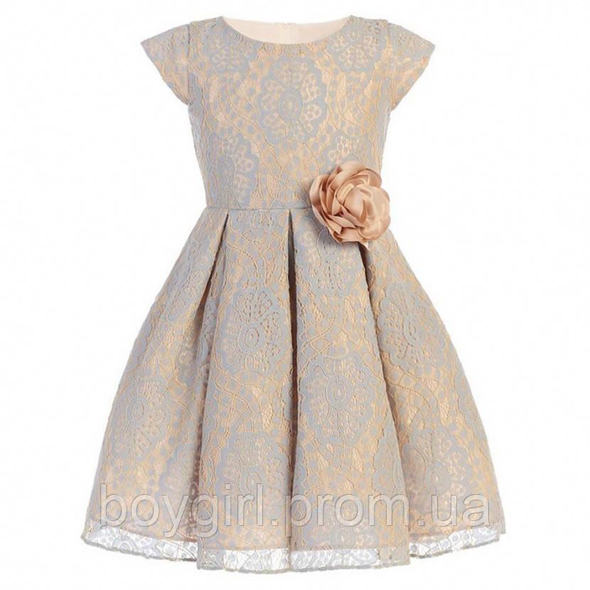 2773c096faf Короткое кружевное платье с лентой на девочку 2-8 лет (разные цвета ...