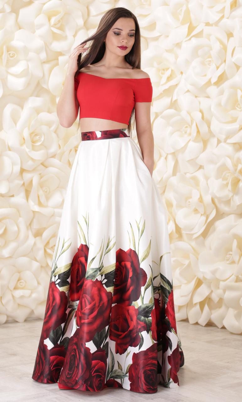 64586c266c53da1 Вечернее платье из однотонного топа и юбки из атласа с принтом -  Интернет-магазин стильной