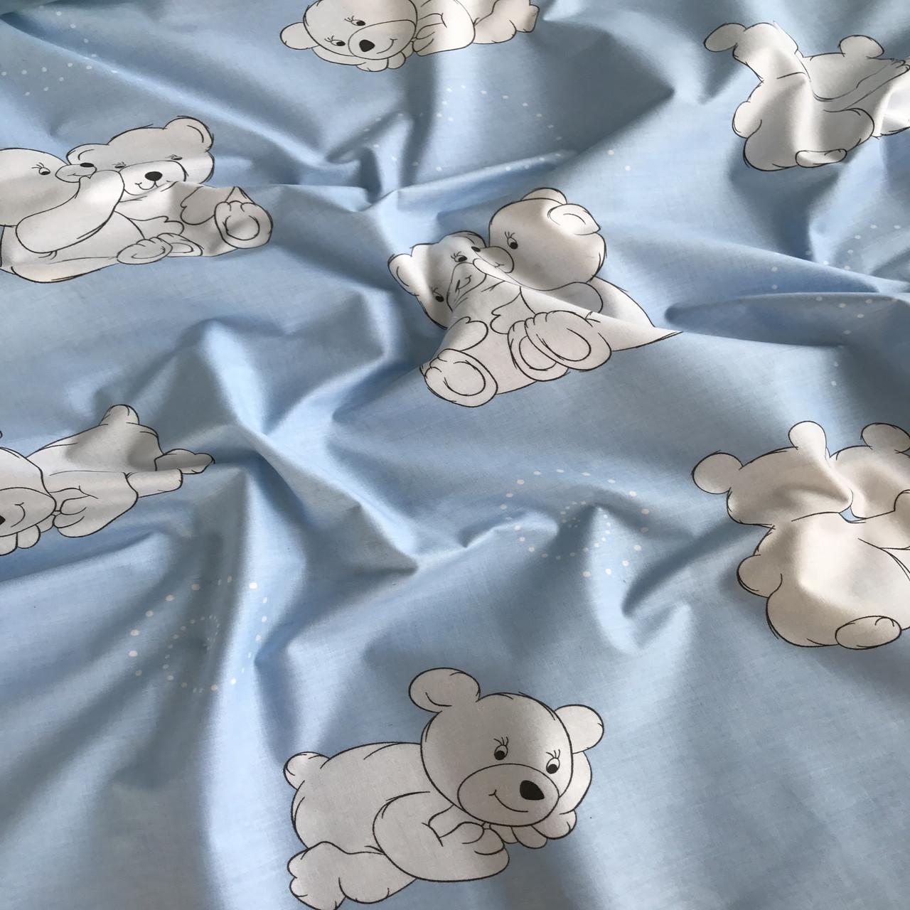 Хлопковая бязь ЛЮКС мишки белые на голубом №27