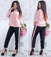 Женский костюм блуза рубашка и брюки с лампасами креп - костюмка Размеры: с м л хл ххл