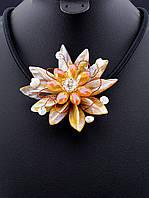 Ожерелье с натуральным перламутром и чешским стеклом 46 см. 029699