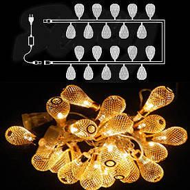 Гирлянда светодиодная Груша золото, металл, 20 LED(Фигур_Груша*зол-20LED)