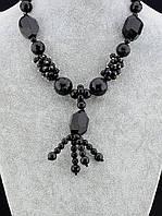 Бусы из черного агата и чешского хрусталя 022811