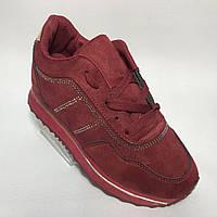 Женские кроссовки на толстой подошве / бордовые 37 р  , фото 1