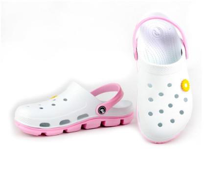 Женские кроксы (Код: 116100 бел-розовый )