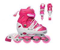 Роликовые коньки раздвижные Profi A 12100-1-S  размер 31-34 Розовые