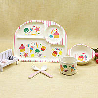Набор красивой детской посуды из бамбука Sweets Eco