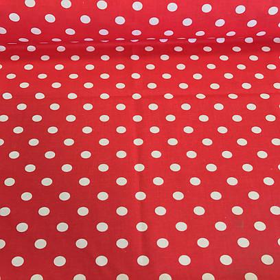 Хлопковая ткань польская белый горох на красном 10 мм (1 см) №140