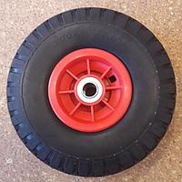 Колесо пена с пластмассовым диском 3.00-4 из полиуретана для тачек