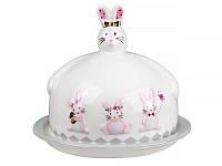 """Блюдо с крышкой 17х14,5 см. керамическое """"Кролик розовый"""" Lefard"""