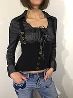 Рубашка женская серая с корсетной отделкой M