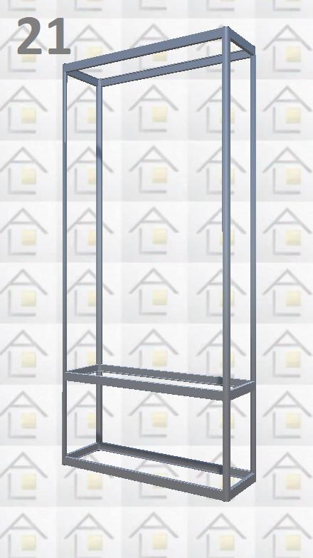 Конструктор (каркас) витрины № 21 из алюминиевого профиля (2578)1449,2576,2721