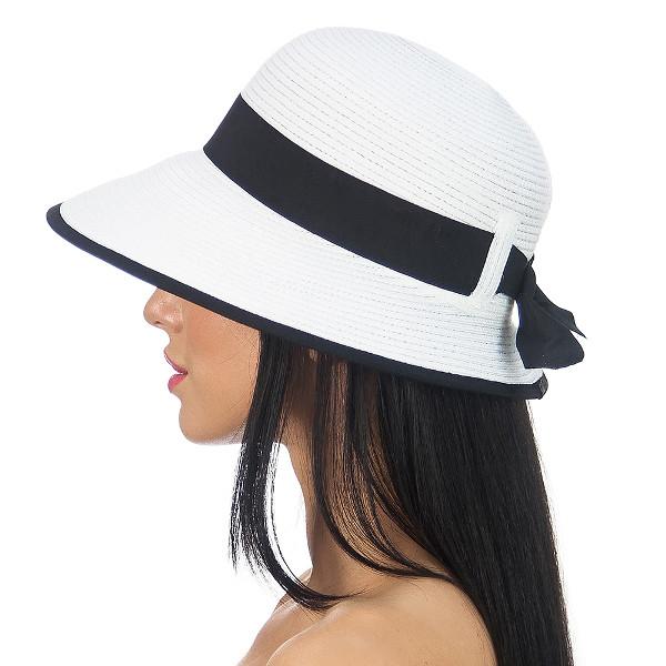 Летняя шляпа с небольшими полями цвет белый с черным
