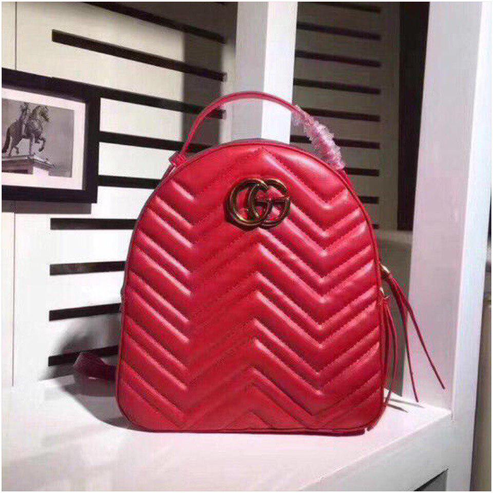 Рюкзак Гучи Marmont натуральная кожа цвет красный