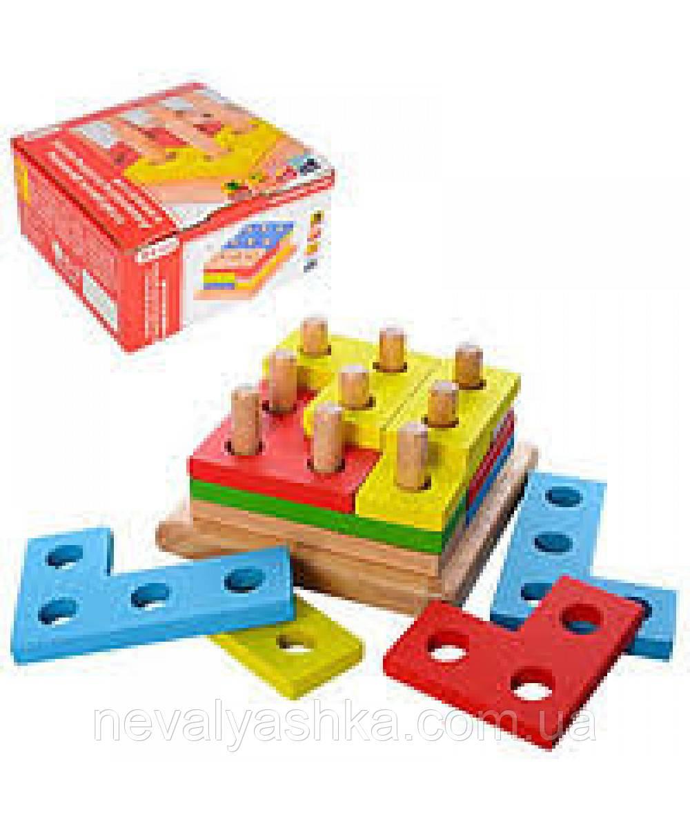 Деревянная игрушка Геометрика Пирамидка, MD 1132, 006419